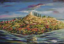 Meer, Turm, Landschaft, Mittelmeer
