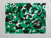 Antwort, Linoldruck, Linolschnitt, Entscheidende