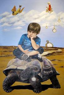 Uhr, Banane, Schildkröte, Kind