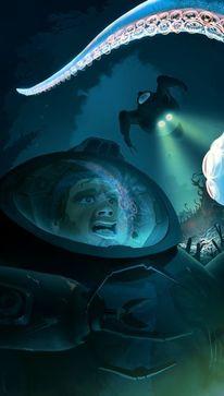 Krake, Fantasie, Unterwasser, Spiegelung