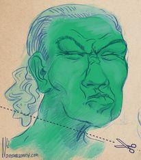 Ausdruck, Zeichnung, Grün, Portrait