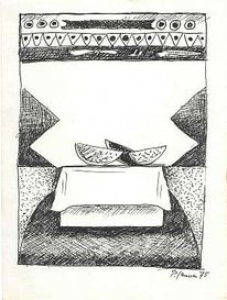 Zeichnung, Malerei, Stillleben, Melonenscheiben