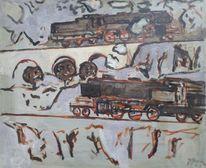 Lokomotive, Verkehr, 1948, Malerei