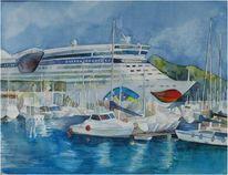 Hafen, Catagena, Aquarellmalerei, Aquarell