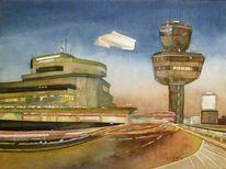 Berlin, Aquarellmalerei, Tegel, Flugplatz