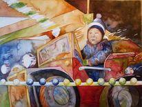 Aquarellmalerei, Malerei, Karussellpferd, Auto