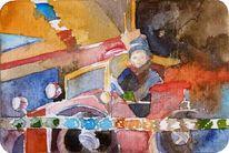 Knirps, Aquarellmalerei, Junge, Mädchen