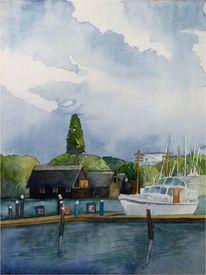 Boot, Aquarellmalerei, Sportboote, Schwerin