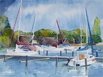 Aquarellmalerei, Schwerin, Boote am see, Sprotboote