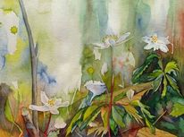 Aquarellmalerei, Anemonen, Blumen, Frühling