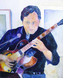 Gitarrist, Jazztime, Aquarellmalerei, Jazz