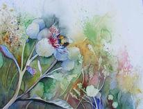 Aquarellmalerei, Blumen, Sommer, Zwielicht