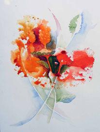 Blumen, Abklatsch, Garten, Malerei