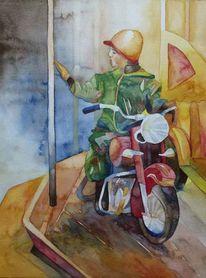 Aquarellmalerei, Farben, Motorrad, Aquarellpostkarten