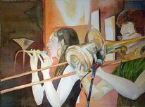 Aquarellmalerei, Jazz, Nanorange, Malerei