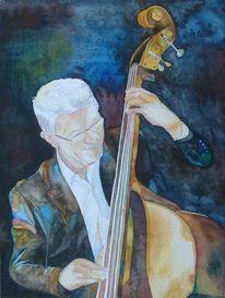 Jazz, Musik, Aquarellmalerei, Bass