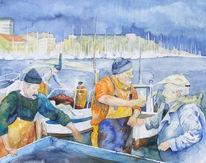 Fischmarkt, Hafen, Aquarellmalerei, Alter