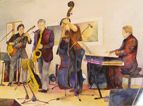 Aquarellmalerei, Ahrenshoop, Ausstellung, Jazz