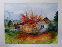 Aquarellmalerei, Haus, Indian summer, Rottach egern