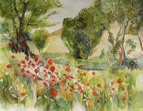 Aquarellmalerei, Garten, Baum, Hecke