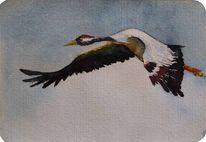 Miniatur, Aquarellmalerei, Kranich, Zugvögel
