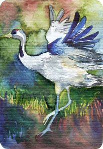 Malerei, Kranich, Malen, Aquarellpostkarte