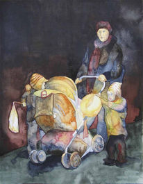 Laterne, Nacht, Aquarellmalerei, Kinder
