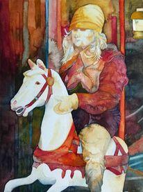 Aquarellpostkarte, Kinderkarussell, Malen, Pferde