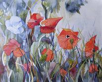 Blumen, Aquarellmalerei, Blüte, Malerei