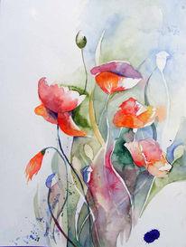 Mohn, Sommer, Garten, Aquarellmalerei