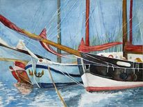 Hafen, Maritim, Päckchen, Aquarellmalerei