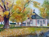 Pavillon, Herbst, Doberaner, Aquarellmalerei