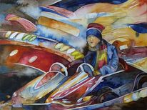 Palette, Aquarellmalerei, Auto, Karussell