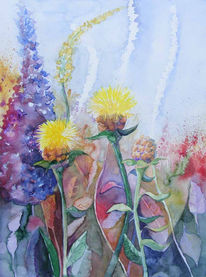 Pflanzen, Aquarellmalerei, Blüte, Garten