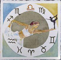 Sternzeichen, Wagen, Tierkreiszeichen, Aquarellmalerei