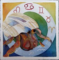 Tierkreiszeichen, Einsiedlerkrebs, Aquarellmalerei, Krebs