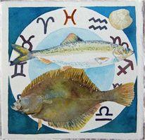 Sternbilder, Fische, Aquarellmalerei, Sternzeichen