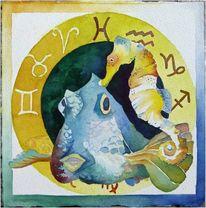 Aquarellmalerei, Hering, Petra rau, Scholle