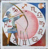 Sternzeichen, Aquarellmalerei, Irland, Schütze