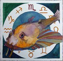 Tierkreiszeichen, Tierkreiszeichen skorpion, Ostsee, Aquarellmalerei