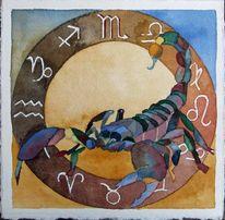 Sternzeichen als aquarell, Sternzeichen, Aquarellmalerei, Skorpion