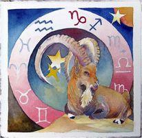 Steinbock, Tierkreiszeichen, Aquarellmalerei, Sternzeichen