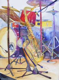 Stillleben, Jazz, Treffen, Aquarellmalerei