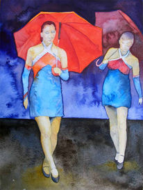 Aquarellmalerei, Tanz, Menschen, Malerei