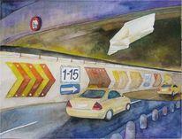 Flughafen, Aquarellmalerei, Tegel, Taxi