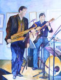 Jazzmalerei, Leben, Saxofon, Aquarellmalerei