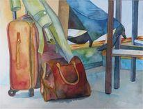 Aquarellmalerei, Stillleben, Flugplatz, Flughafen