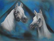 Malerei, Pferde, Araber