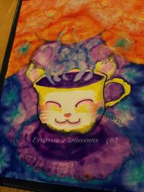 Tee, Violett, Rot, Trost
