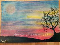Pastellmalerei, Sonnenaufgang, Baum, Mond